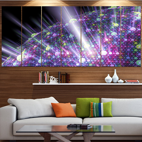 Purple Solar Bubbles Planet Abstract Canvas Art Print - 5 Panels