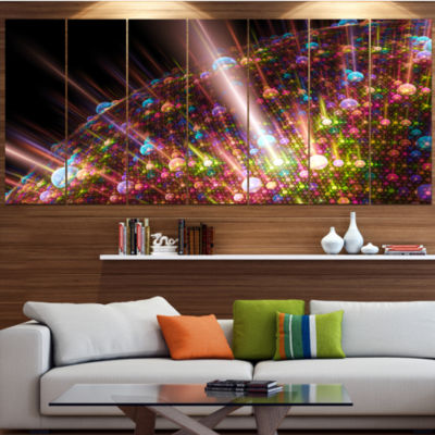 Multi Color Solar Bubbles Planet Contemporary Canvas Art Print - 5 Panels