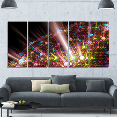 Multi Color Solar Bubbles Planet Abstract Canvas Art Print - 5 Panels