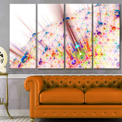 Red Blue Solar Bubbles Planet Abstract Canvas WallArt - 4 Panels