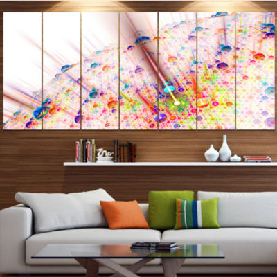 Red Blue Solar Bubbles Planet Abstract Canvas WallArt - 7 Panels