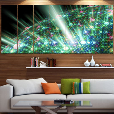 Designart Bright Blue Solar Bubbles Planet Contemporary Canvas Wall Art - 5 Panels