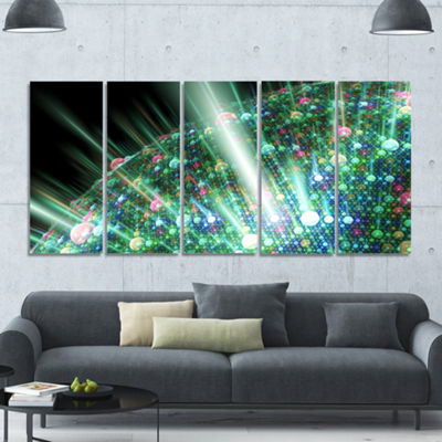 Designart Bright Blue Solar Bubbles Planet Abstract Canvas Wall Art - 5 Panels