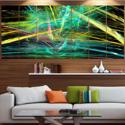 Green Yellow Magical Fractal Pattern Abstract Canvas Wall Art - 5 Panels