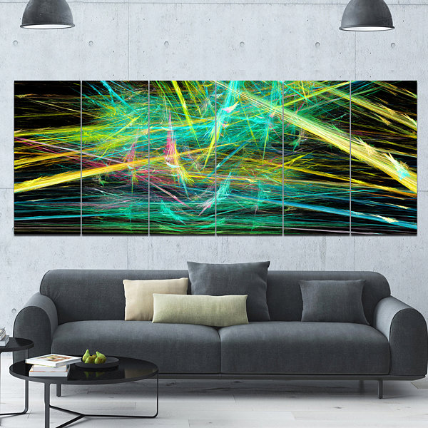 Green Yellow Magical Fractal Pattern Abstract Canvas Wall Art - 6 Panels