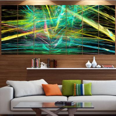 Green Yellow Magical Fractal Pattern Abstract Canvas Wall Art - 7 Panels