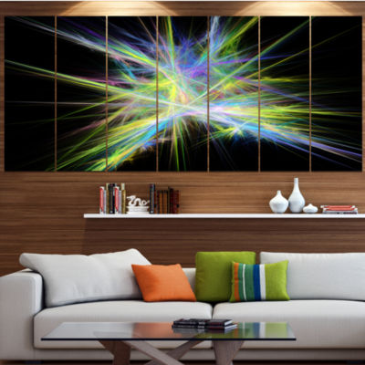 Yellow Blue Chaos Multicolored Rays Abstract Canvas Wall Art - 5 Panels