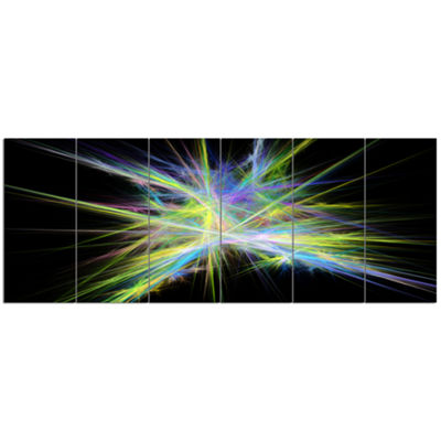 Yellow Blue Chaos Multicolored Rays Abstract Canvas Wall Art - 6 Panels