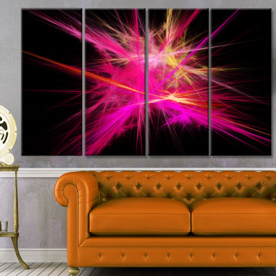 Pink Fractal Chaos Multicolored Rays Abstract Canvas Wall Art - 4 Panels