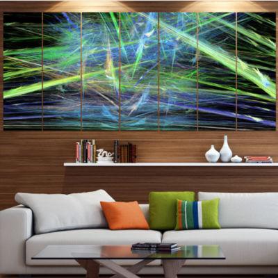 Green Blue Magical Fractal Pattern Contemporary Canvas Wall Art - 5 Panels
