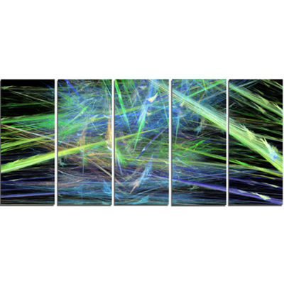 Green Blue Magical Fractal Pattern Abstract CanvasWall Art - 5 Panels