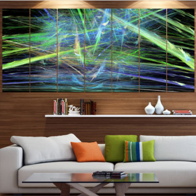 Green Blue Magical Fractal Pattern Abstract CanvasWall Art - 6 Panels