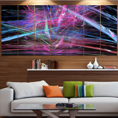 Pink Blue Magical Fractal Pattern Contemporary Canvas Wall Art - 5 Panels