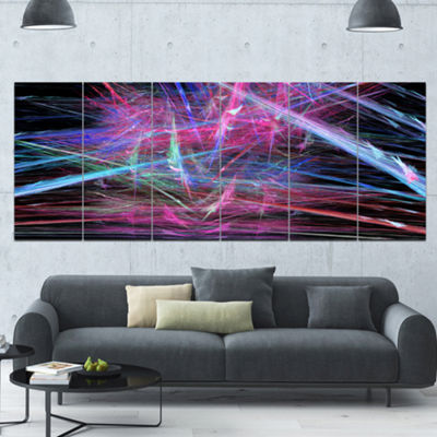 Pink Blue Magical Fractal Pattern Abstract CanvasWall Art - 6 Panels