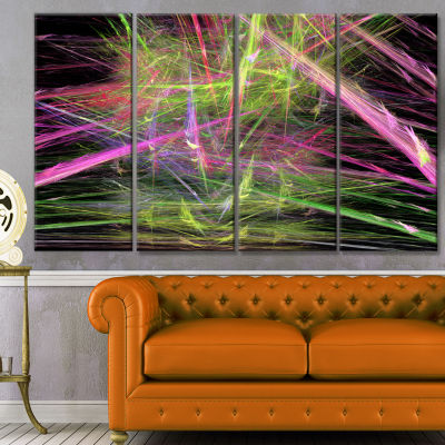 Green Pink Magical Fractal Pattern Abstract CanvasWall Art - 4 Panels