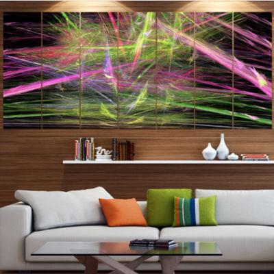 Green Pink Magical Fractal Pattern Contemporary Canvas Wall Art - 5 Panels