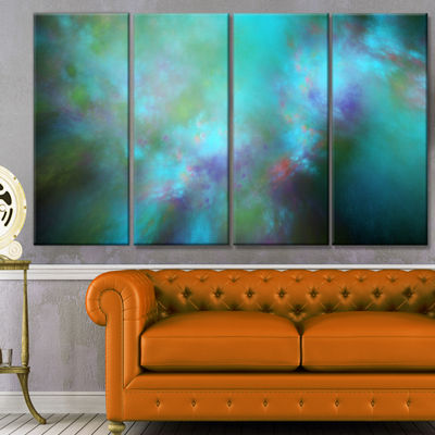 Perfect Blue Starry Sky Abstract Canvas Wall Art -4 Panels