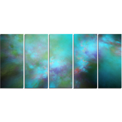 Perfect Blue Starry Sky Abstract Canvas Wall Art -5 Panels
