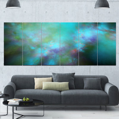 Perfect Blue Starry Sky Abstract Canvas Wall Art -6 Panels