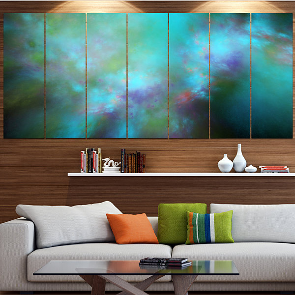 Perfect Blue Starry Sky Abstract Canvas Wall Art -7 Panels