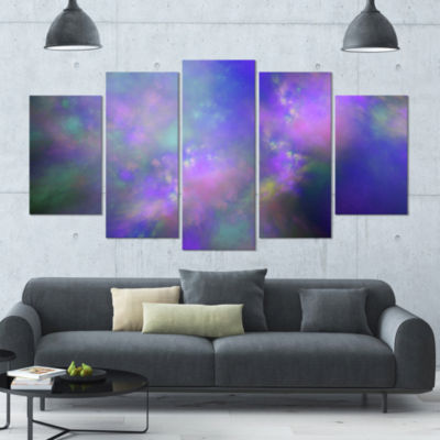 Perfect Purple Starry Sky Contemporary Canvas WallArt - 5 Panels