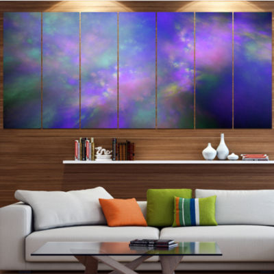 Perfect Purple Starry Sky Abstract Canvas Wall Art- 6 Panels