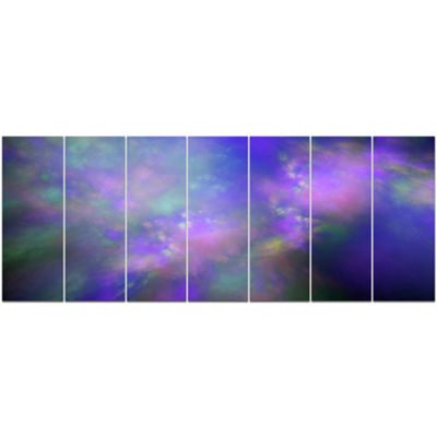 Perfect Purple Starry Sky Abstract Canvas Wall Art- 7 Panels