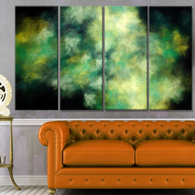 Perfect Green Starry Sky Abstract Canvas Wall Art-4 Panels