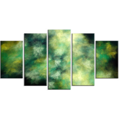 Perfect Green Starry Sky Contemporary Canvas WallArt - 5 Panels