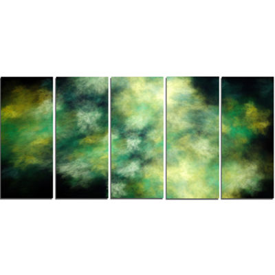 Perfect Green Starry Sky Abstract Canvas Wall Art-5 Panels