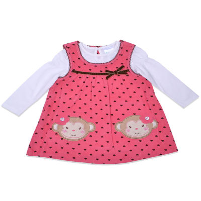 Nanette Baby Long Sleeve Pattern A-Line Dress - Baby Girls