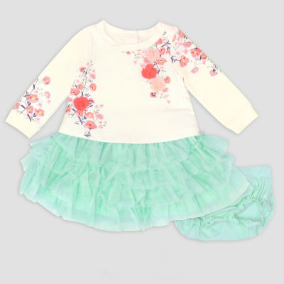 Nanette Baby Long Sleeve Floral Mint Tutu Dress-Baby Girls