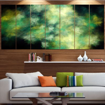 Perfect Green Starry Sky Abstract Canvas Wall Art-6 Panels
