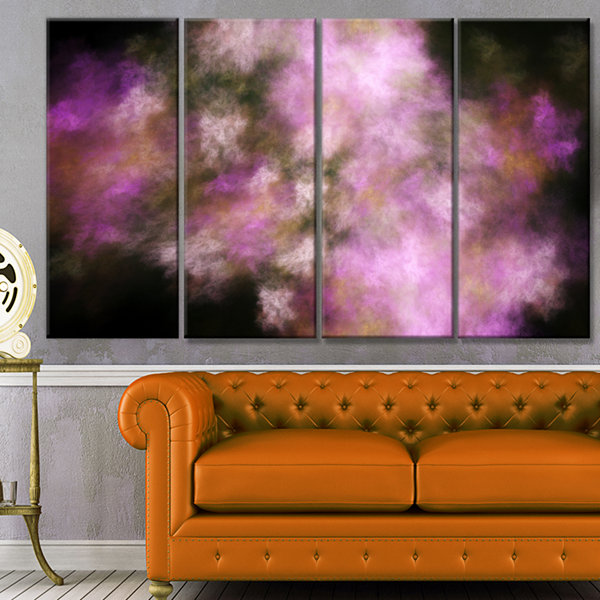 Perfect Pink Starry Sky Abstract Canvas Art Print-4 Panels