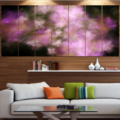 Perfect Pink Starry Sky Abstract Canvas Art Print- 6 Panels