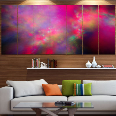 Perfect Red Starry Sky Abstract Canvas Art Print -4 Panels