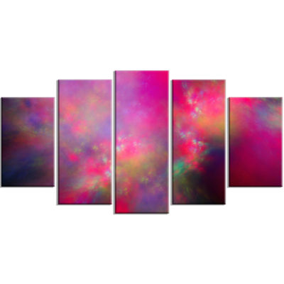 Perfect Red Starry Sky Contemporary Canvas Art Print - 5 Panels