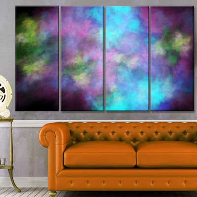 Perfect Blue Purple Starry Sky Abstract Canvas ArtPrint - 4 Panels