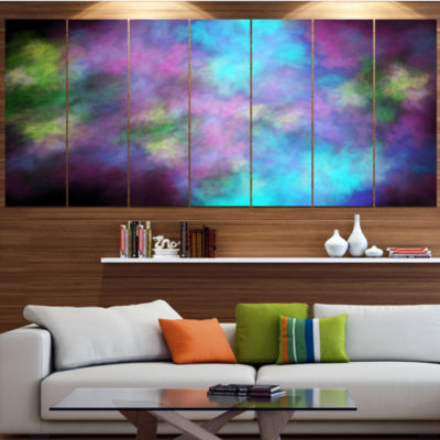 Perfect Blue Purple Starry Sky Contemporary CanvasArt Print - 5 Panels