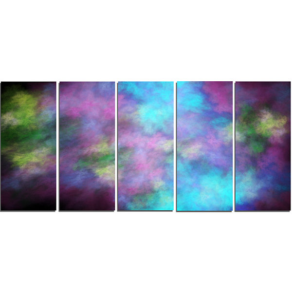 Perfect Blue Purple Starry Sky Abstract Canvas ArtPrint - 5 Panels