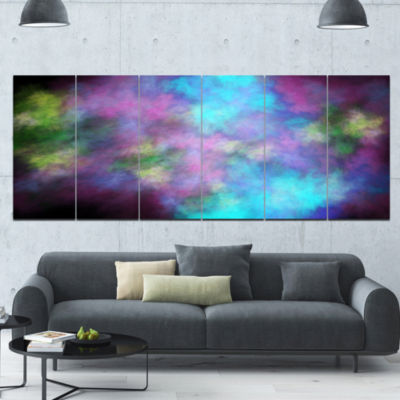 Perfect Blue Purple Starry Sky Abstract Canvas ArtPrint - 6 Panels