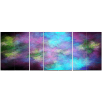 Perfect Blue Purple Starry Sky Abstract Canvas ArtPrint - 7 Panels