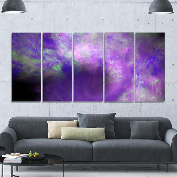 Perfect Light Purple Starry Sky Abstract Canvas Art Print - 5 Panels