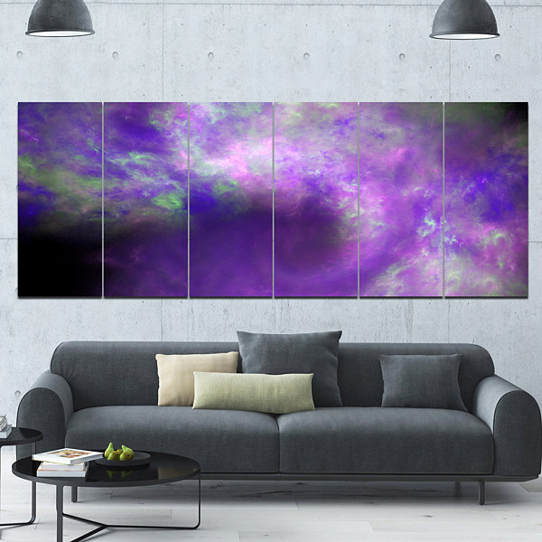 Perfect Light Purple Starry Sky Abstract Canvas Art Print - 6 Panels
