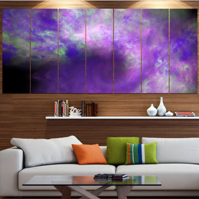 Perfect Light Purple Starry Sky Abstract Canvas Art Print - 7 Panels