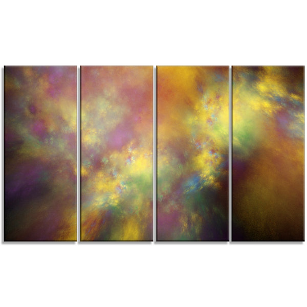 Perfect Yellow Starry Sky Abstract Canvas Art Print - 4 Panels