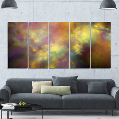Perfect Yellow Starry Sky Abstract Canvas Art Print - 5 Panels