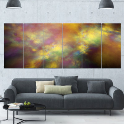 Perfect Yellow Starry Sky Abstract Canvas Art Print - 6 Panels