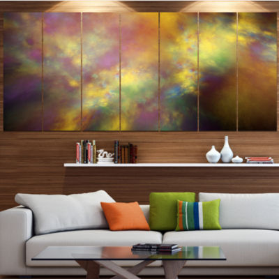 Perfect Yellow Starry Sky Abstract Canvas Art Print - 7 Panels