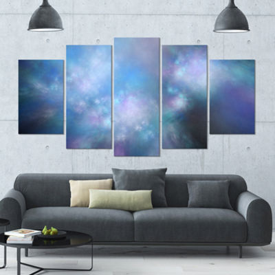 Perfect Light Blue Starry Sky Contemporary CanvasArt Print - 5 Panels